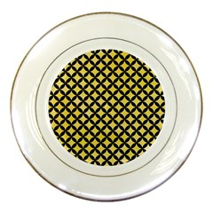 Circles3 Black Marble & Yellow Watercolor Porcelain Plates