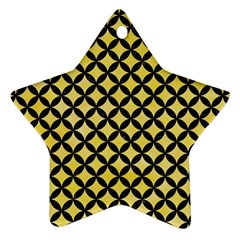 Circles3 Black Marble & Yellow Watercolor Star Ornament (two Sides)