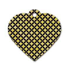 Circles3 Black Marble & Yellow Watercolor Dog Tag Heart (one Side)