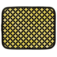 Circles3 Black Marble & Yellow Watercolor Netbook Case (xxl)
