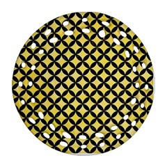 Circles3 Black Marble & Yellow Watercolor Round Filigree Ornament (two Sides)