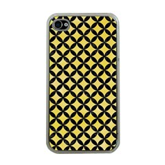 Circles3 Black Marble & Yellow Watercolor Apple Iphone 4 Case (clear)