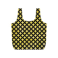 Circles3 Black Marble & Yellow Watercolor Full Print Recycle Bags (s)