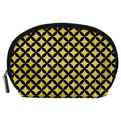 Circles3 Black Marble & Yellow Watercolor Accessory Pouches (large)