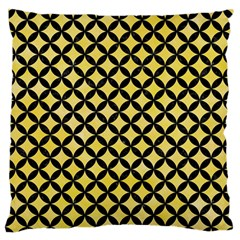 Circles3 Black Marble & Yellow Watercolor Large Flano Cushion Case (two Sides)
