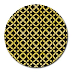 Circles3 Black Marble & Yellow Watercolor (r) Round Mousepads