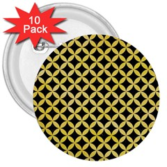 Circles3 Black Marble & Yellow Watercolor (r) 3  Buttons (10 Pack)