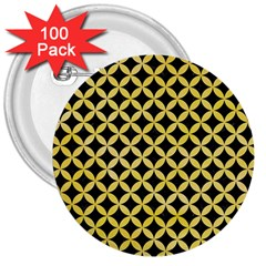 Circles3 Black Marble & Yellow Watercolor (r) 3  Buttons (100 Pack)