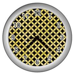 Circles3 Black Marble & Yellow Watercolor (r) Wall Clocks (silver)