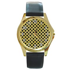 Circles3 Black Marble & Yellow Watercolor (r) Round Gold Metal Watch