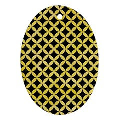 Circles3 Black Marble & Yellow Watercolor (r) Oval Ornament (two Sides)