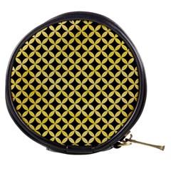 Circles3 Black Marble & Yellow Watercolor (r) Mini Makeup Bags