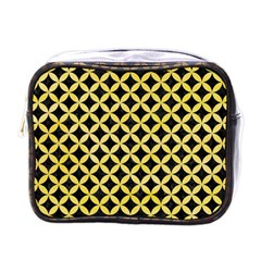 Circles3 Black Marble & Yellow Watercolor (r) Mini Toiletries Bags
