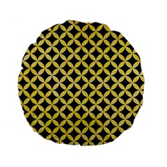 Circles3 Black Marble & Yellow Watercolor (r) Standard 15  Premium Round Cushions