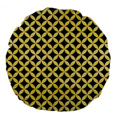 Circles3 Black Marble & Yellow Watercolor (r) Large 18  Premium Round Cushions