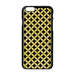 Circles3 Black Marble & Yellow Watercolor (r) Apple Iphone 6/6s Black Enamel Case