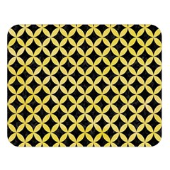 Circles3 Black Marble & Yellow Watercolor (r) Double Sided Flano Blanket (large)