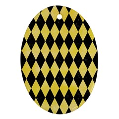 Diamond1 Black Marble & Yellow Watercolor Ornament (oval)