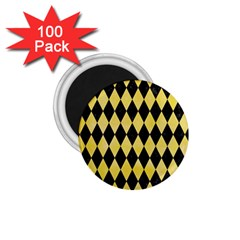Diamond1 Black Marble & Yellow Watercolor 1 75  Magnets (100 Pack)