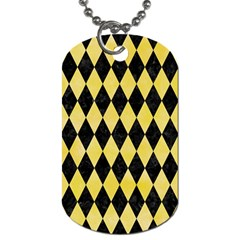 Diamond1 Black Marble & Yellow Watercolor Dog Tag (two Sides)