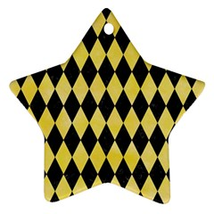 Diamond1 Black Marble & Yellow Watercolor Star Ornament (two Sides)