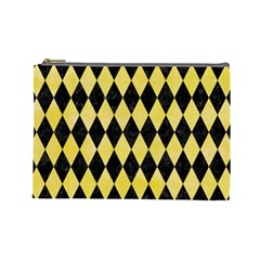 Diamond1 Black Marble & Yellow Watercolor Cosmetic Bag (large)