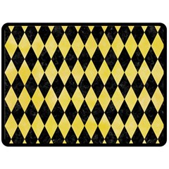 Diamond1 Black Marble & Yellow Watercolor Fleece Blanket (large)