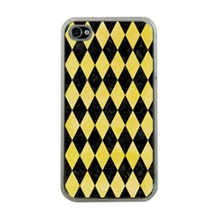 Diamond1 Black Marble & Yellow Watercolor Apple Iphone 4 Case (clear)