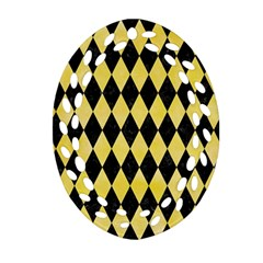 Diamond1 Black Marble & Yellow Watercolor Oval Filigree Ornament (two Sides)