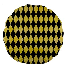 Diamond1 Black Marble & Yellow Watercolor Large 18  Premium Flano Round Cushions
