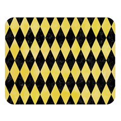 Diamond1 Black Marble & Yellow Watercolor Double Sided Flano Blanket (large)