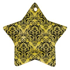 Damask1 Black Marble & Yellow Watercolor Ornament (star)