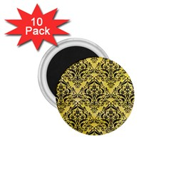 Damask1 Black Marble & Yellow Watercolor 1 75  Magnets (10 Pack)