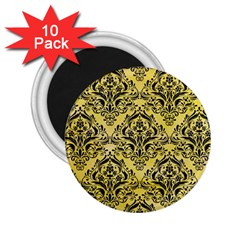 Damask1 Black Marble & Yellow Watercolor 2 25  Magnets (10 Pack)