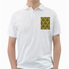 Damask1 Black Marble & Yellow Watercolor Golf Shirts