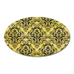 Damask1 Black Marble & Yellow Watercolor Oval Magnet