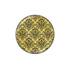 Damask1 Black Marble & Yellow Watercolor Hat Clip Ball Marker (4 Pack)