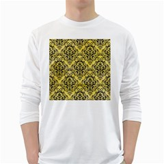 Damask1 Black Marble & Yellow Watercolor White Long Sleeve T Shirts
