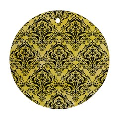 Damask1 Black Marble & Yellow Watercolor Round Ornament (two Sides)