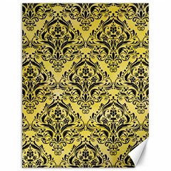 Damask1 Black Marble & Yellow Watercolor Canvas 12  X 16
