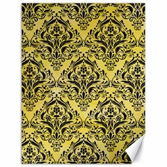 Damask1 Black Marble & Yellow Watercolor Canvas 18  X 24