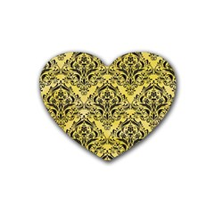 Damask1 Black Marble & Yellow Watercolor Heart Coaster (4 Pack)