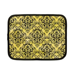 Damask1 Black Marble & Yellow Watercolor Netbook Case (small)