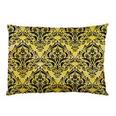 Damask1 Black Marble & Yellow Watercolor Pillow Case