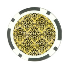 Damask1 Black Marble & Yellow Watercolor Poker Chip Card Guard (10 Pack)
