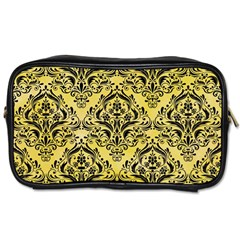Damask1 Black Marble & Yellow Watercolor Toiletries Bags 2 Side