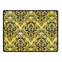 Damask1 Black Marble & Yellow Watercolor Fleece Blanket (small)