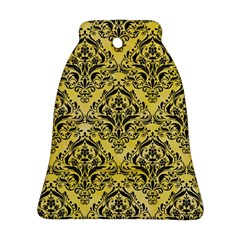 Damask1 Black Marble & Yellow Watercolor Bell Ornament (two Sides)