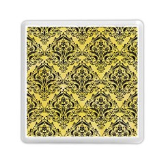 Damask1 Black Marble & Yellow Watercolor Memory Card Reader (square)