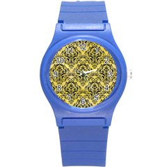 Damask1 Black Marble & Yellow Watercolor Round Plastic Sport Watch (s)